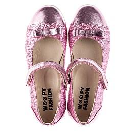 Детские туфли Woopy Fashion розовые для девочек натуральная кожа, искусственный материал  размер 28-36 (7230) Фото 5