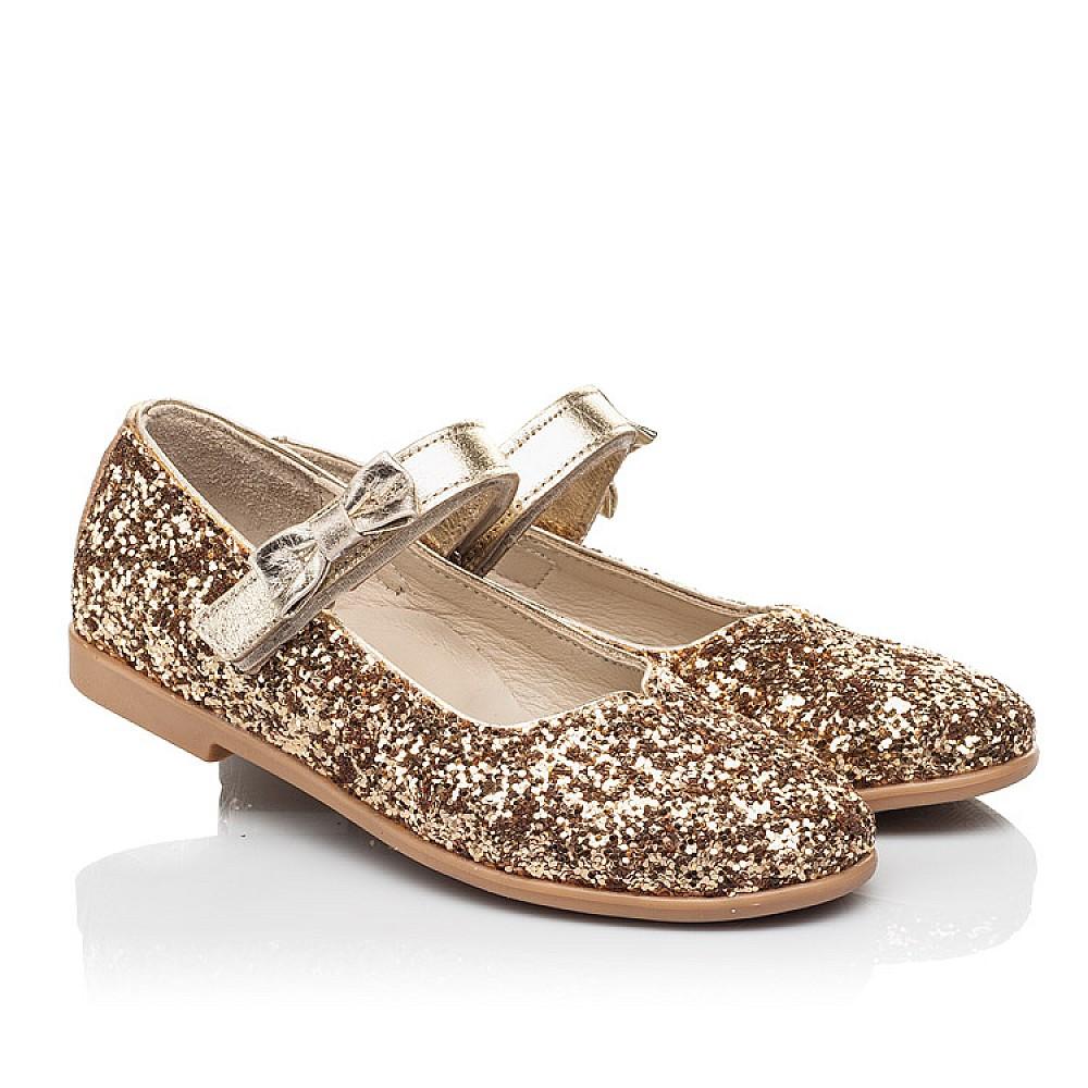 Детские туфли праздничные Woopy Fashion золотые для девочек современный искусственный материал размер 28-36 (7231) Фото 1