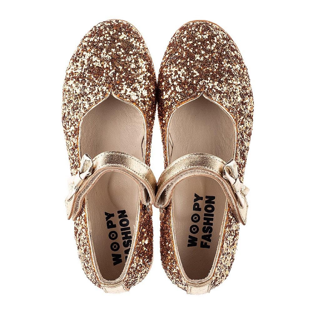 Детские туфли праздничные Woopy Fashion золотые для девочек современный искусственный материал размер 28-36 (7231) Фото 5