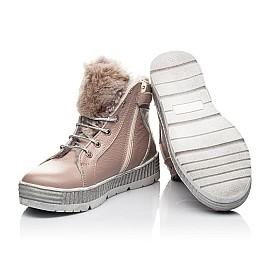 Детские зимние ботинки на меху Woopy Fashion бежевый для девочек натуральная кожа размер 28-37 (7233) Фото 2