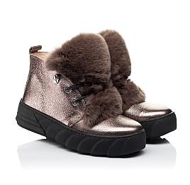 Детские зимние ботинки на меху Woopy Fashion серебряные для девочек натуральная кожа размер 35-40 (7234) Фото 1