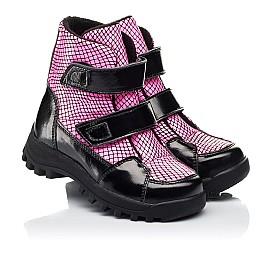 Детские ботинки еврозима Woopy Fashion розовые для девочек натуральная лаковая кожа размер 22-31 (7243) Фото 1