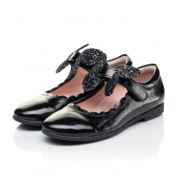 Детские туфли Woopy Fashion черные для девочек натуральная лаковая кожа размер 26-35 (7245) Фото 3