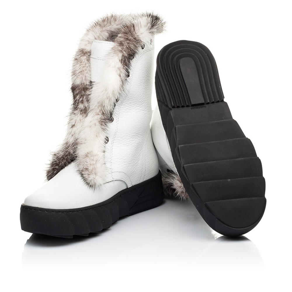 Детские зимние сапоги на меху Woopy Fashion белые для девочек натуральная кожа размер 31-39 (7251) Фото 2