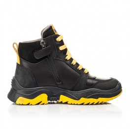Детские демисезонные ботинки Woopy Fashion черные для мальчиков натуральная кожа размер 26-35 (7252) Фото 5
