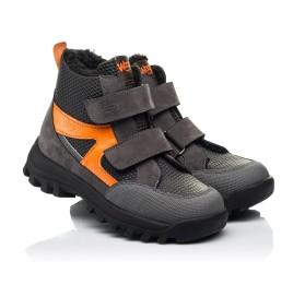 Детские зимние ботинки на шерсти Woopy Fashion черные, серые для мальчиков натуральный нубук размер 29-32 (7253) Фото 1