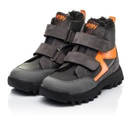 Детские зимние ботинки на шерсти Woopy Fashion черные, серые для мальчиков натуральный нубук размер 29-32 (7253) Фото 3