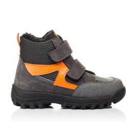 Детские зимние ботинки на шерсти Woopy Fashion черные, серые для мальчиков натуральный нубук размер 29-32 (7253) Фото 4
