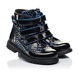 Детские ботинки еврозима Woopy Orthopedic синие для девочек лаковая кожа размер 20-33 (7254) Фото 1