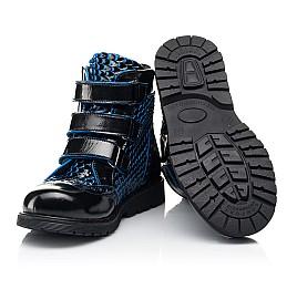 Детские ботинки еврозима Woopy Orthopedic синие для девочек лаковая кожа размер 20-33 (7254) Фото 2
