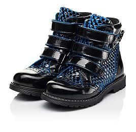 Детские ботинки еврозима Woopy Orthopedic синие для девочек лаковая кожа размер 20-33 (7254) Фото 3