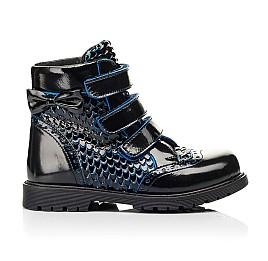 Детские ботинки еврозима Woopy Orthopedic синие для девочек лаковая кожа размер 20-33 (7254) Фото 4