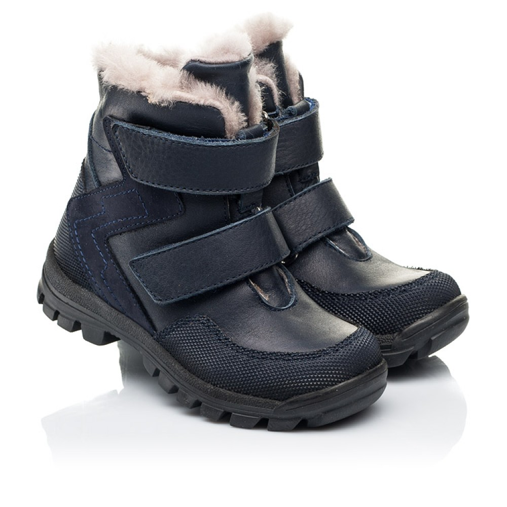 Детские зимние ботинки на меху Woopy Fashion синие для мальчиков натуральные кожа и нубук размер 21-33 (7256) Фото 1