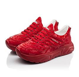 Детские кроссовки (шнурок-резинка) Woopy Fashion красные для девочек натуральная кожа размер 33-39 (8005) Фото 3