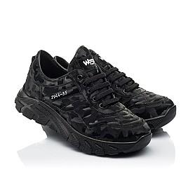 Детские кроссовки (шнурок-резинка) Woopy Fashion черные для девочек натуральная кожа размер 33-40 (8020) Фото 1