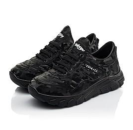Детские кроссовки (шнурок-резинка) Woopy Fashion черные для девочек натуральная кожа размер 33-40 (8020) Фото 3