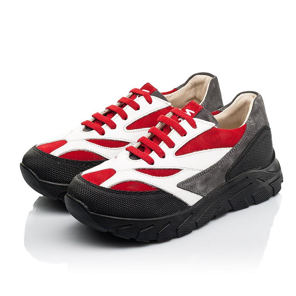 Детские кроссовки Woopy Fashion красные, белые для мальчиков натуральный нубук, кожа размер 33-40 (8021) Фото 3