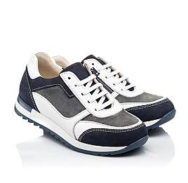 Детские кроссовки (боковая молния) Woopy Fashion белые для мальчиков натуральная кожа, замша размер 22-33 (8023) Фото 1