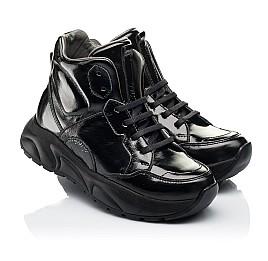 Детские демисезонные ботинки (подкладка кожа) Woopy Fashion черные для девочек лаковая кожа размер 30-40 (8024) Фото 1