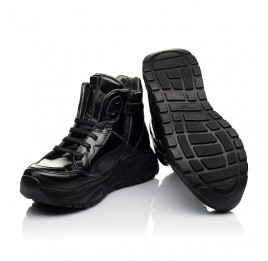Детские демисезонные ботинки (подкладка кожа) Woopy Fashion черные для девочек лаковая кожа размер 30-40 (8024) Фото 2