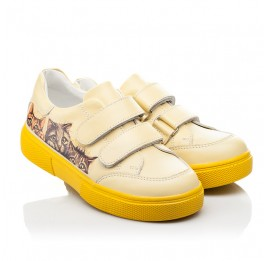 Детские кеды Woopy Fashion желтые для девочек натуральная кожа размер 21-30 (8039) Фото 1