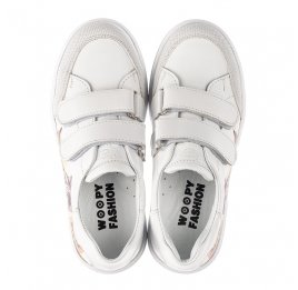 Детские кеды Woopy Fashion белые для девочек натуральная кожа размер 28-38 (8042) Фото 5
