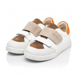 Детские кеды Woopy Fashion белые для мальчиков натуральная кожа и нубук размер 19-30 (8043) Фото 3