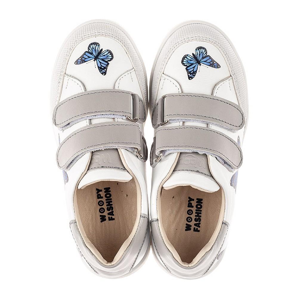 Детские кеды Woopy Fashion белые для девочек натуральная кожа размер 21-30 (8045) Фото 5