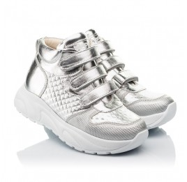 Детские демисезонные ботинки (подкладка кожа) Woopy Orthopedic серебряные для девочек натуральная кожа размер 31-40 (8050) Фото 1