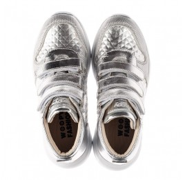 Детские демисезонные ботинки (подкладка кожа) Woopy Orthopedic серебряные для девочек натуральная кожа размер 31-40 (8050) Фото 5