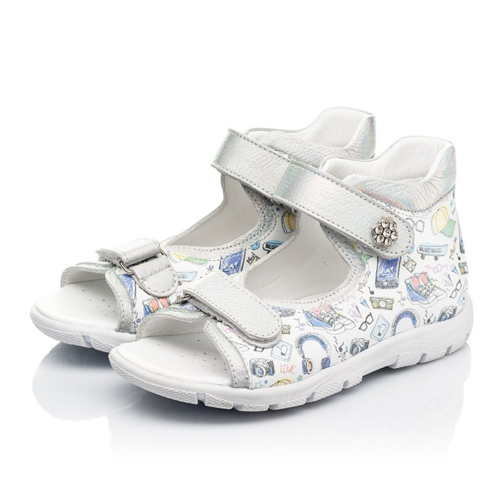 Детские босоножки Woopy Fashion белые для девочек натуральная кожа размер 24-37 (8058) Фото 3