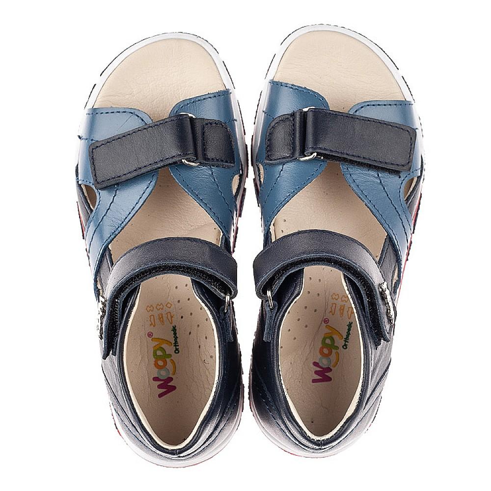 Детские босоножки Woopy Orthopedic синие для мальчиков натуральная кожа размер 26-40 (8059) Фото 5