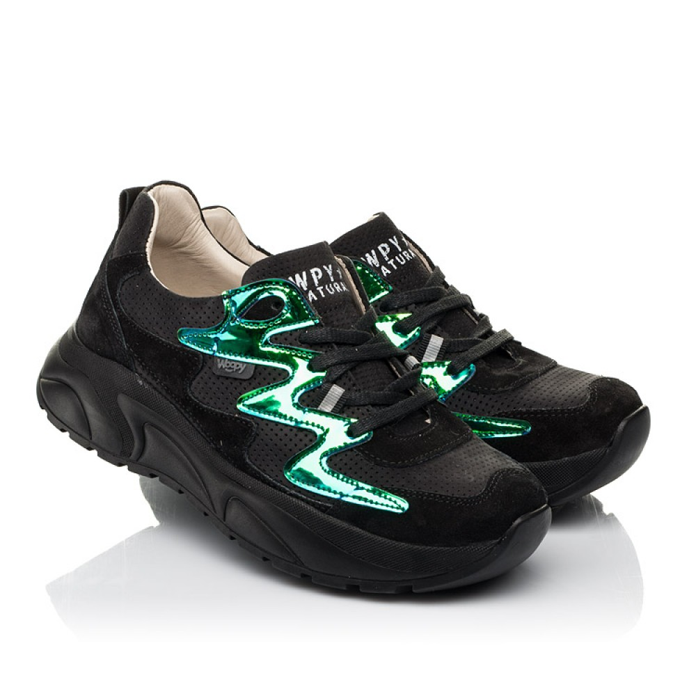 Детские кроссовки Woopy Fashion черные для девочек натуральный нубук размер 31-40 (8066) Фото 1