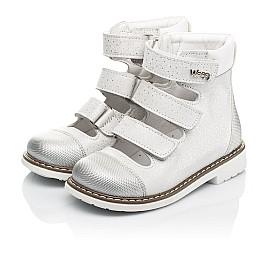 Детские ортопедические туфли (с высоким берцем) Woopy Orthopedic серебряные для девочек натуральный нубук размер 19-33 (8072) Фото 3