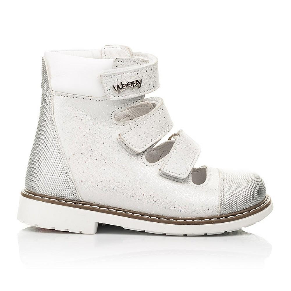 Детские ортопедические туфли (с высоким берцем) Woopy Orthopedic серебряные для девочек натуральный нубук размер 19-33 (8072) Фото 4