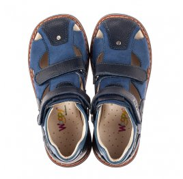 Детские закрытые босоножки Woopy Orthopedic синие для мальчиков натуральный нубук и кожа размер 19-33 (8073) Фото 5