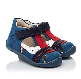 Детские закрытые босоножки Woopy Fashion синие для мальчиков натуральный нубук и кожа размер 19-25 (8078) Фото 1