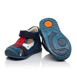 Детские закрытые босоножки Woopy Fashion синие для мальчиков натуральный нубук и кожа размер 19-25 (8078) Фото 3
