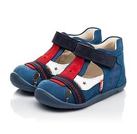 Детские закрытые босоножки Woopy Fashion синие для мальчиков натуральный нубук и кожа размер 19-25 (8078) Фото 4