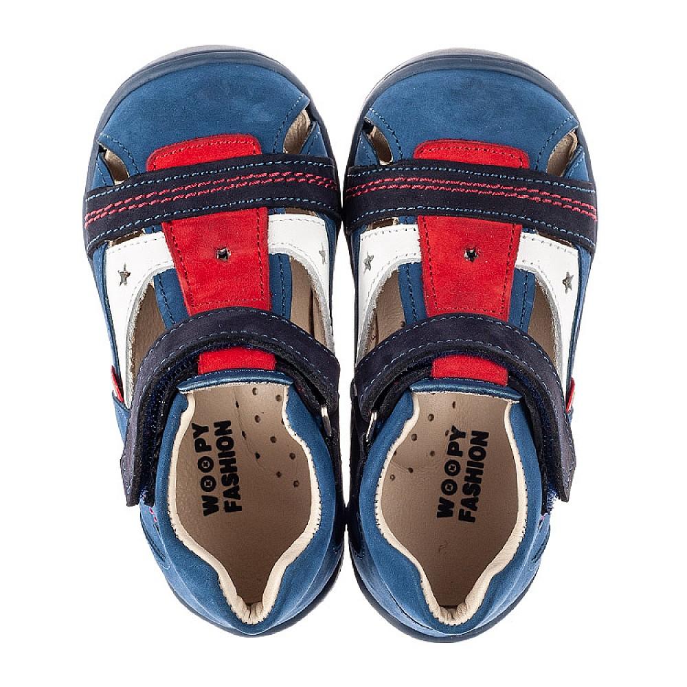 Детские закрытые босоножки Woopy Fashion синие для мальчиков натуральный нубук и кожа размер 19-25 (8078) Фото 5