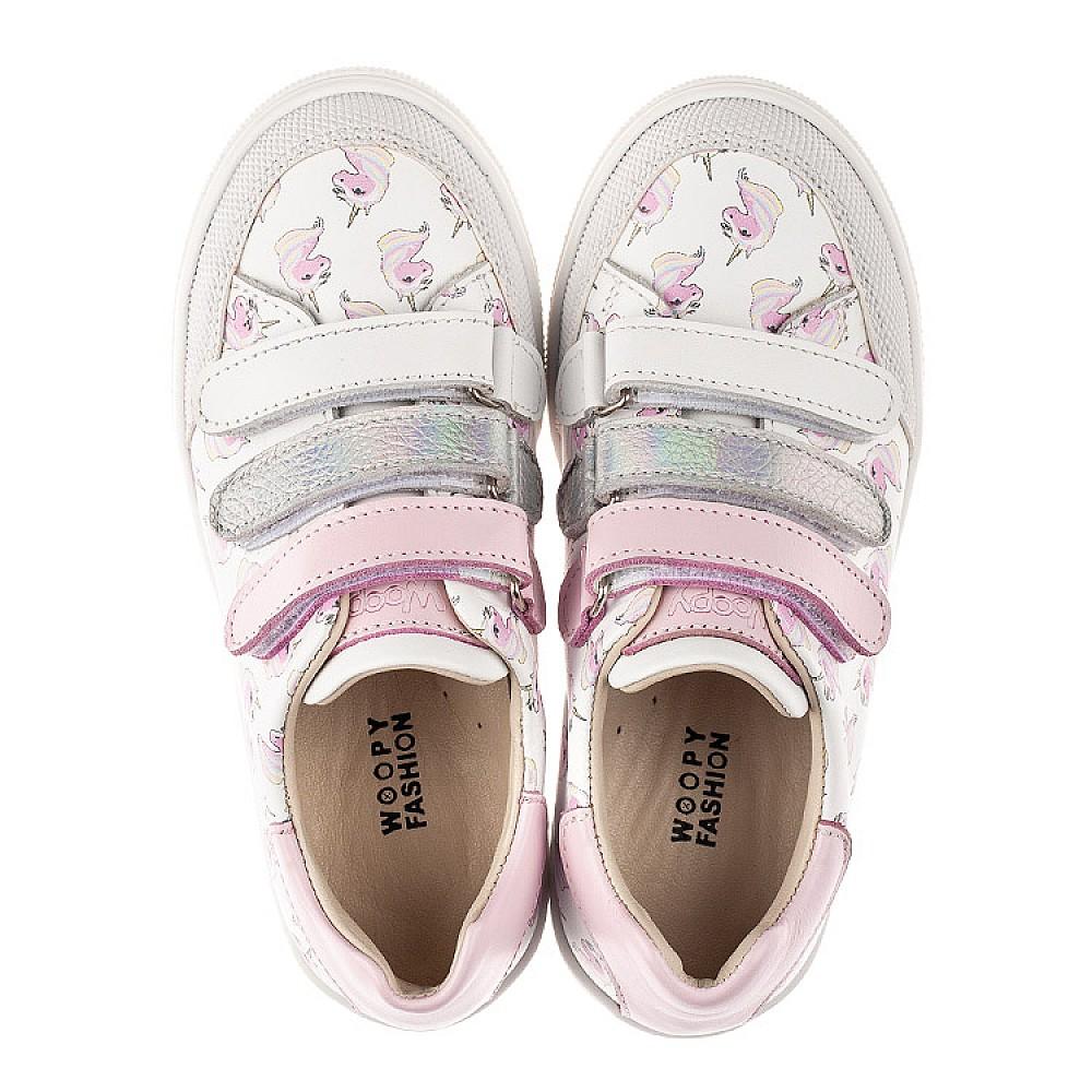 Детские кеды Woopy Fashion белые для девочек натуральная кожа размер 20-36 (8080) Фото 5