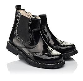 Детские демисезонные ботинки (подкладка кожа) Woopy Orthopedic черные для девочек лаковая кожа размер 25-40 (8081) Фото 1