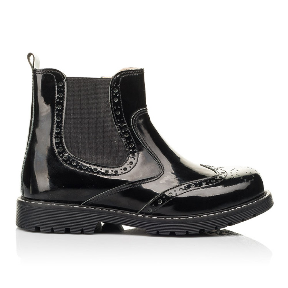 Детские демисезонные ботинки (подкладка кожа) Woopy Orthopedic черные для девочек лаковая кожа размер 25-40 (8081) Фото 4