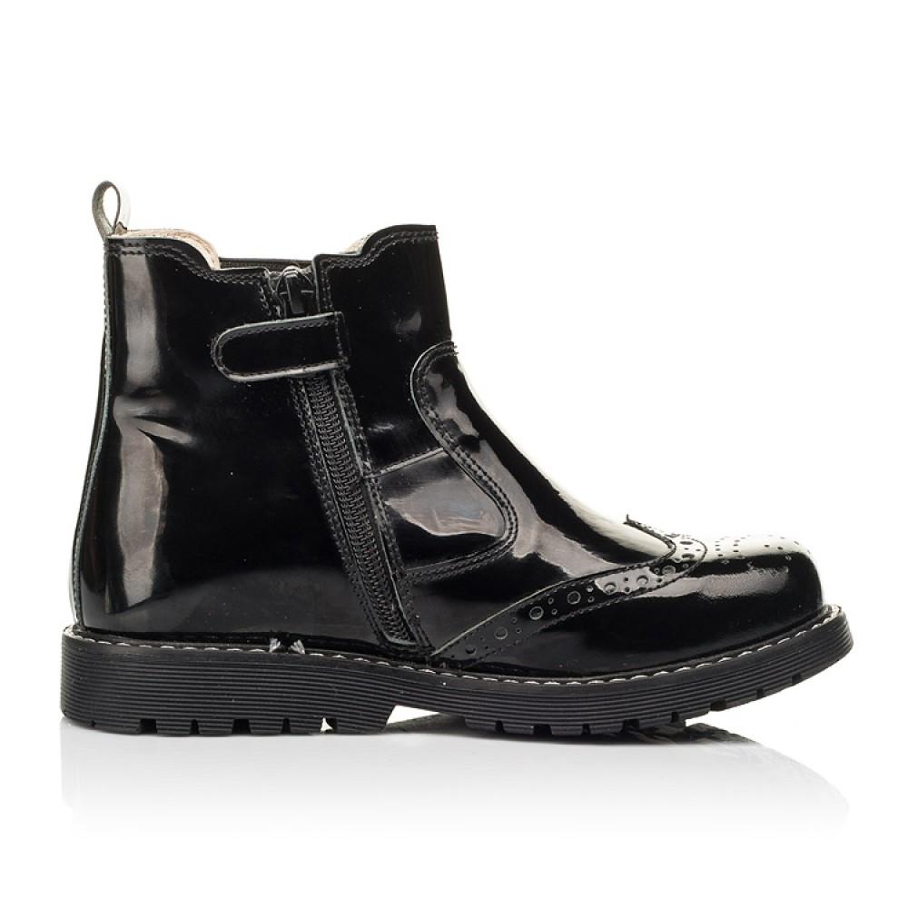 Детские демисезонные ботинки (подкладка кожа) Woopy Orthopedic черные для девочек лаковая кожа размер 25-40 (8081) Фото 5
