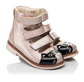 Детские ортопедические туфли (с высоким берцем) Woopy Orthopedic пудровые для девочек натуральный нубук размер 19-30 (8098) Фото 1