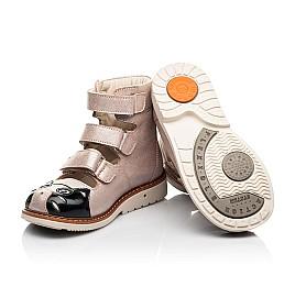 Детские ортопедические туфли (с высоким берцем) Woopy Orthopedic пудровые для девочек натуральный нубук размер 19-30 (8098) Фото 2