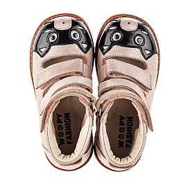 Детские ортопедические туфли (с высоким берцем) Woopy Orthopedic пудровые для девочек натуральный нубук размер 19-30 (8098) Фото 5