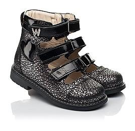 Детские ортопедические туфли (с высоким берцем) Woopy Orthopedic черные для девочек натуральный нубук размер 29-39 (8102) Фото 1