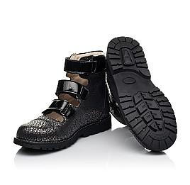 Детские ортопедические туфли (с высоким берцем) Woopy Orthopedic черные для девочек натуральный нубук размер 29-39 (8102) Фото 2