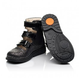 Детские ортопедические туфли (с высоким берцем) Woopy Orthopedic черные для девочек натуральный нубук размер 29-39 (8102) Фото 3